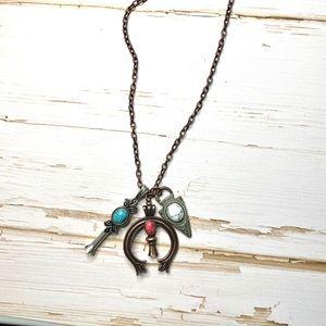 Tri Tone Squash Blossom Triple Pendant Necklace